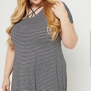 Plus Size Striped Swing Dress